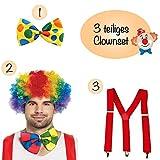 L+H Clown Kostüm Set 1x Perücke 1x Fliege 1x Hosenträger | 3-teiliges Premium Set | perfekt...