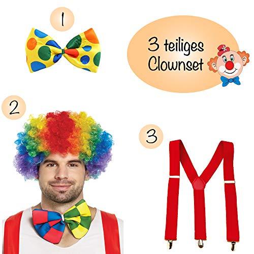 L+H Clown Kostüm Set 1x Perücke 1x Fliege 1x Hosenträger   3-teiliges Premium Set   perfekt abgestimmte Farben   geeignet für Karneval, Kindergeburtstag, Hochzeit, Fasching usw.