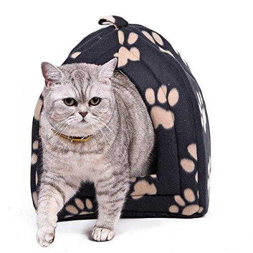 OHANA Haustierbett in Iglu Form mit Pfotendruck und Kissen Geeignet für Katzen und kleine Hunde Schwarz 40 * 32 * 32cm
