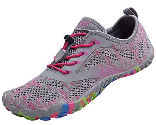 SAGUARO Mujer Barefoot Zapatillas de Trail Running Minimalistas Zapatillas de Deporte Fitness Gimnasio Caminar Zapatos Descalzos para Correr en Montaña Asfalto Escarpines de Agua, Rosa, 40 EU