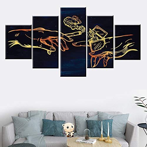 SZQY Decoración De Pared Impresiones Abstractas sobre Lienzo Cuadro Arte De La Pared Imagen Moderno para Dormitorio Sala De Estar 5 Piezas Encendedor Y Cigarrillo