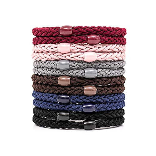 Otartu 12 Pack Hair Ties Elastics For Heavy and Curly Hair,Beads Accent,Ponytail Holder, Exceptionally Secure with Gentle Hold,Thick Hair Ties(multicolor)