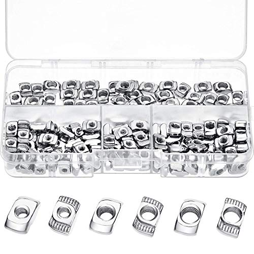 Senmubery 20 Series T Nuts M3/ M4/ M5 T Slot Nut Hammer Head Fastener Nut Assortment Kit for Aluminum Profile (150 Pieces)