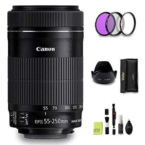 GYTE Bundle | Objetivo Canon - EF-S 55-250 mm f/4-5,6 IS STM - Teleobjetivo para Cámara Reflex Digital + Kit de Filtro de 3 Piezas + Juego de Limpieza | Paquete de Accesorios Premium