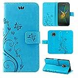 betterfon   Flower Hülle Handytasche Schutzhülle Blumen Klapptasche Handyhülle Handy Schale für Motorola Moto G5S Blau