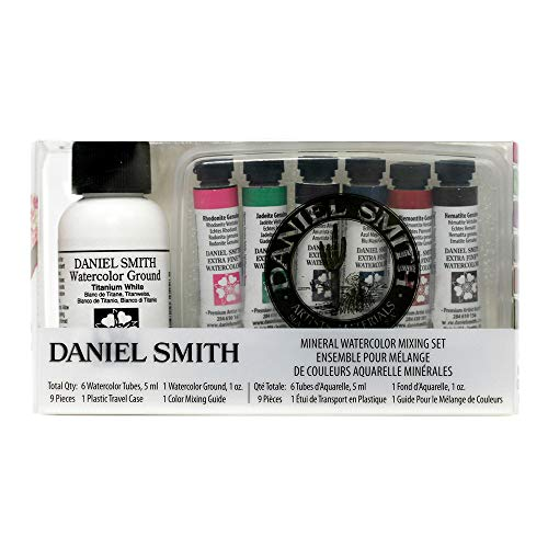 Daniel Smith Watercolor, Mineral Mixing Set with 5ml Primatek Colors, 1oz Watercolor Ground, Mixing Guide and Plastic Travel case (285610103)