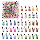 Craftdady 100 abalorios de resina con forma de botella de té y leche, diseño de frutas, collar de té, pendientes, colgantes para manualidades, para decoración de bolsas de llavero