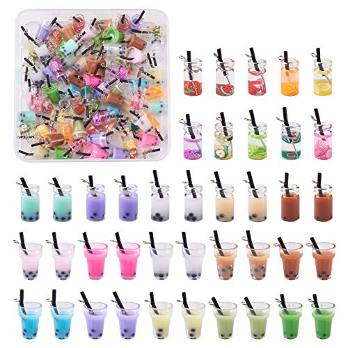 Cheriswelry 100 colgantes de té de burbujas y zumo de frutas con 3 estilos, botella de cristal transparente, colgantes en miniatura, para hacer joyas y llavero