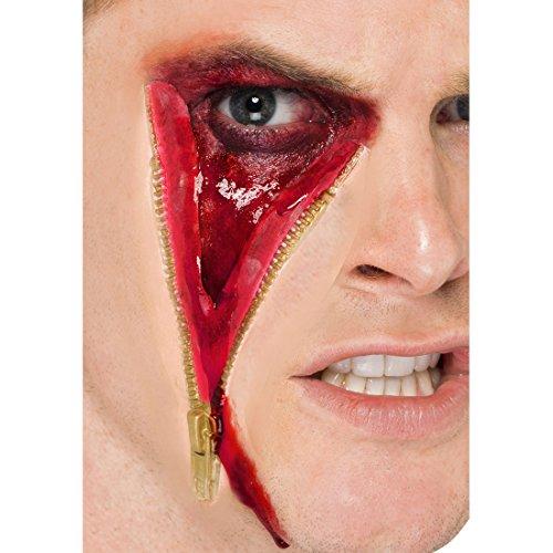 Amakando Maquillage Blessure Make-up Plaie en Latex Visage Horrifiant Fermeture Eclair Film d'horreur Soirée Halloween Accessoire