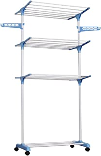 3 Tier Clothes Drying Rack Folding Laundry Dryer Hanger Compact Storage Steel Indoor Outdoor Blue