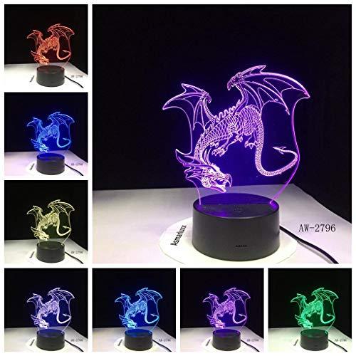 3D Fliegender Drache Lampe Illusion Optische Led Täuschung Nachtlicht Touch Licht 7 farben farbwechsel berührungssteuerung zuhause dekor tischleuchte mit Fernbedienung Usb Power für mädchen junge