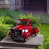 Overmal Retro-Art Solar Pickup Truck Garten Dekoration Truck Blumentopf mit Autolicht Vintage Style Pickup mit Kiefer Kaffeetasse für Gartendekoration Tischdekoration (Rot)
