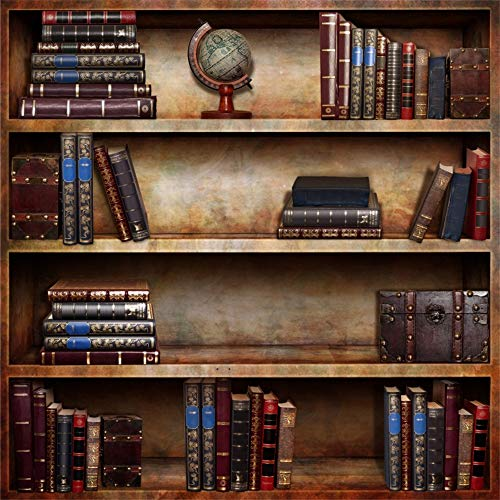 Leowefowa 6x6FT Vintage Bookshelf Backdrop Retro Bookcase Hardcovers Backdrops for Photography Study Room European School Library Vinyl Photo Background Portrait Photo Props Event Party Decoration