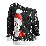 VEMOW Heißer Elegante Damen Frauen Frohe Weihnachten Weihnachtsmann Print Skew Kragen Casual Daily Party Freizeit Sweatshirt Bluse(X1-c-Schwarz, 34 DE/M CN)