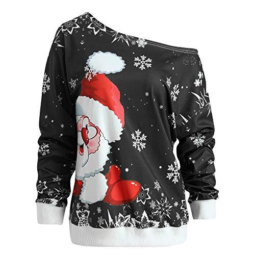 VEMOW Heißer Elegante Damen Frauen Frohe Weihnachten Weihnachtsmann Print Skew Kragen Casual Daily Party Freizeit Sweatshirt Bluse(X1-c-Schwarz, 38 DE/XL CN)