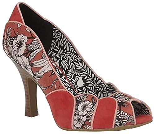 Ruby Shoo Damen Schuhe Matilda Floral Jacquard Peeptoe Pumps Peep Toe (42, Rötliches Orange/Apricot)