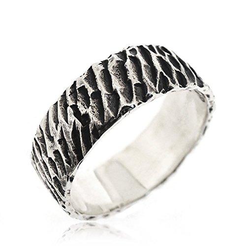 sovats Herren Antiquität-Ring Textur 925 Sterlingsilber, Größe 60