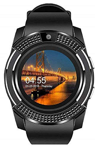 Demaco V8 Bluetooth Touch Screen Smart Watch Phones with Camera, SIM, SD Card Slot (Black)