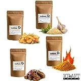Griechisches Gewürzset, Greek Style, Tzaziki, scharfes Curry, Kartoffelgewürz, Chivapchichi, 4er Set, 200g, Kraft-Ernte