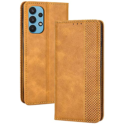 ALAMO Retro Klapp Hülle für Samsung Galaxy A32 4G (Not for 5G Edition), Premium PU Leder Handyhülle mit Kartenfächer & Geldbeutel - Braun