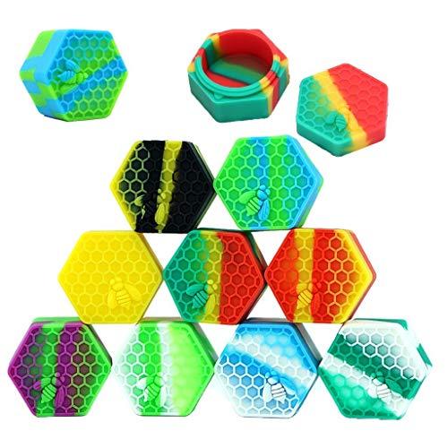 PIAOPIAONIU 10 Pcs Hexagon Non-Stick 26ml Wax Silicone Container Jars Oil Wax Kitchen Storage Rubber Container,Color…
