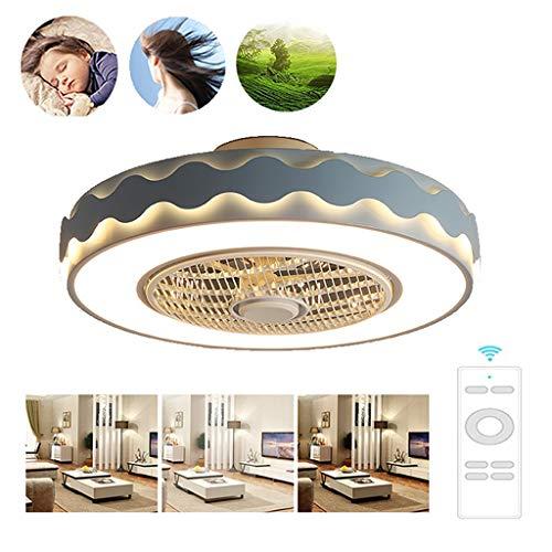 52cm LED Invisible Ceiling Fan Light Verstelbare Wind Speed dimbaar Met Afstandsbediening, 46W Cool Ventilator Aan Het Plafond Met Verlichting 220v (Color : Blue)