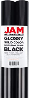 JAM PAPER Gift Wrap - Glossy Wrapping Paper - 25 Sq Ft - Black - 2/Pack