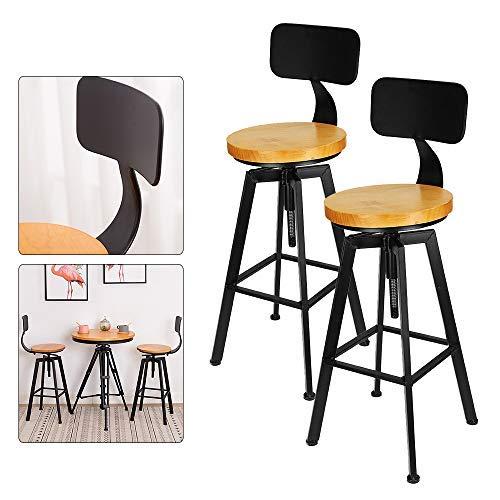 Juego de 2 taburetes de bar de madera, estilo industrial, taburetes de bar para salón o cocina + metal respaldo silla 64-84 cm