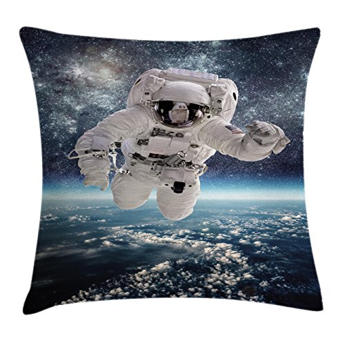 Ambesonne Space Throw Pillow Cushion Cover, Outer Space Theme Astronaut in Milkyway Print Galaxy Star Dust Universe Earth, Decorative Square Accent Pillow Case, 16' X 16', Dark Blue
