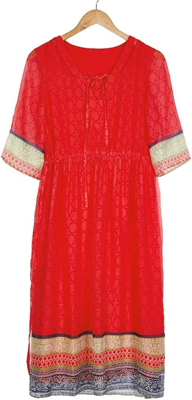 Dress Summer Woman Dress Art National Style Beach Skirt Holiday Seaside Slim Red Dress Comfortable Thin (Size   S)
