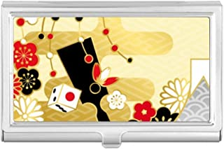 DIYthinker Golden Sakura Geometry Flowers Pattern Business Card Holder Case Wallet