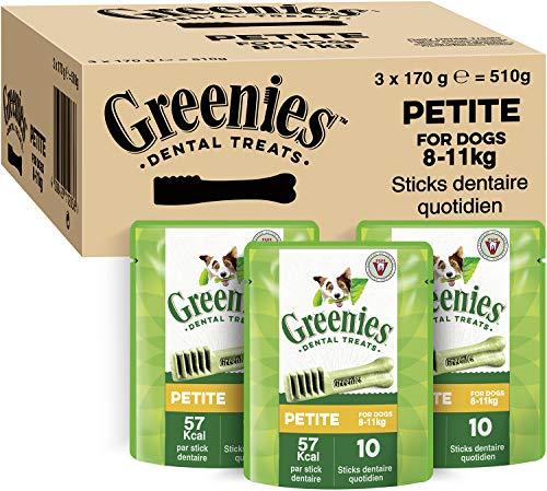 GREENIES Original Petite – Friandises à mâcher pour petit chien – 30 sticks pour une bonne hygiène bucco-dentaire – 3 sachets de 170g