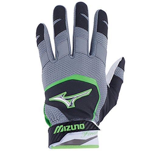 Mizuno Finch Youth Kids Fastpitch Softball Batting Gloves, Large, Black/Optic/Sulphur