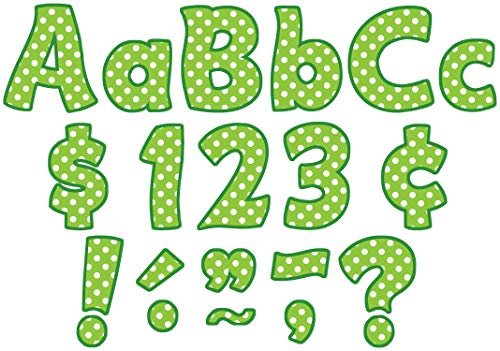 Teacher Created Resources Lime Polka Dots Funtastic Font 4-Inch Letters Combo Pack (5345)