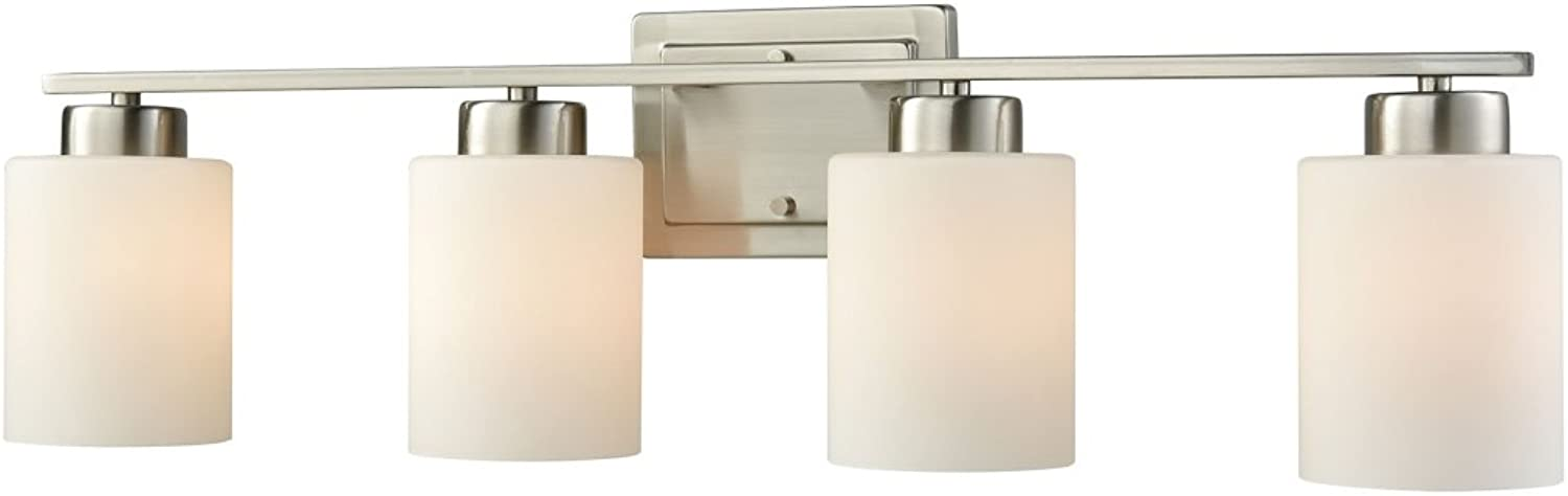 Elk Lighting CN579412 Summit Place 4-Light for The Bath in Brushed Nickel with Opal White Glass Vanity Wall Sconce