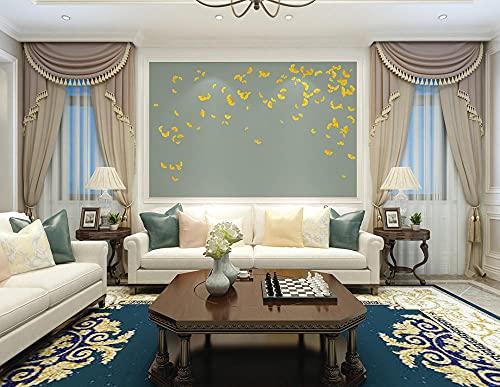 BLZQA 3D Papel tapiz Fotográfico Floral dorado Mural Salón Dormitorio Despacho Pasillo Decoración murales decoración de paredes moderna 300x200 cm-6 panelen
