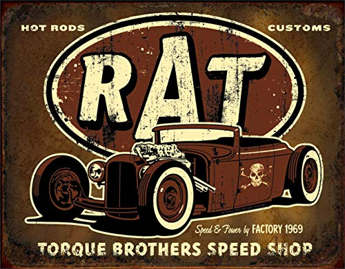 Desperate Enterprises Torque Brothers Speed Shop - Rat Rod Tin Sign, 16' W x 12.5' H