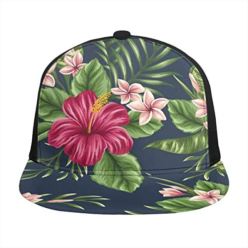 FONDSILVER Tropical Hawaii Flores y Plantas Hombres Mujeres Adultos Snapbacks Sombrero de camionero Sombreros Ajustable Impreso Plano Bill Gorra de béisbol Negro