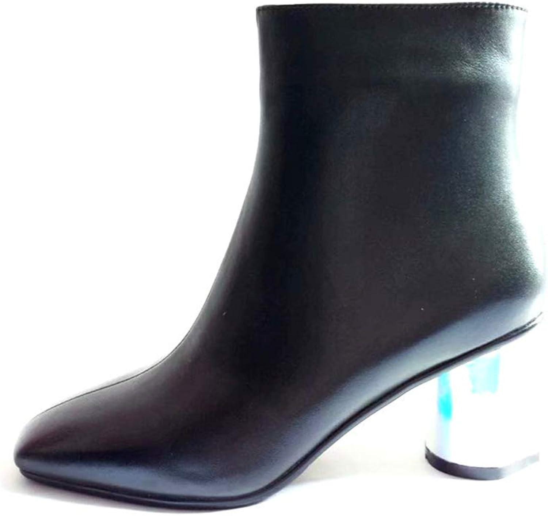Booslipss, Square Head Thick Heel hög klack Mode stövlar Ladies Fall  Winter läder Thick Heel Mikrofiber Martin stövlar (Färg  Svart, Storlek  35)