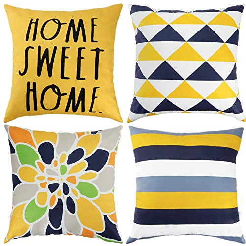 DAPTSY Yellow Mustard Cushion Covers 45cm x 45cm Geometric Cushion Cover Throw Pillow Covers Soft Short Plush Square Throw Pillowcases for Sofa Couch Bed Decorative Pillow Cases Pack of 4