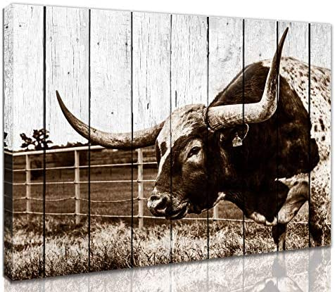 Rustic Wall Art Wall Decorations For Bedroom Farmhouse Wall Art Texas Longhorns Western Decor product image