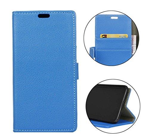 Sunrive Funda para Xiaomi Mi Mix 2S, Funda Protección Carcasa Cuero Resistente Cierre Magnético,Carcasa en Folio, Soporte Plegable (Litchi patrón Azul) + 1 x Lápiz óptico