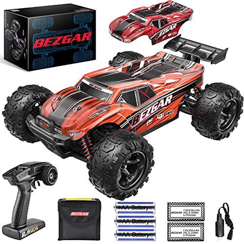 BEZGAR HM181 Hobby Grade 1:18 Scale Remote Control Monster Trucks - 4WD Top Speed 35 Km/h All Terrains Off Road Monster Truck, Waterproof RC Car with 2 Rechargeable Batteries for Kids and Adults