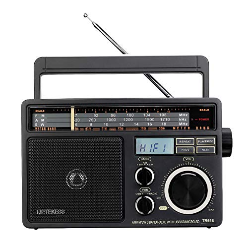 Retekess TR618 Shortwave Radio AM FM Radio Portable Transistor Analog Radio MP3 Player with Earphone Jack Operated by 3 D Batteries or AC Power