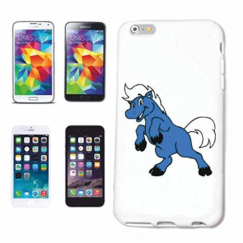 Reifen-Markt Funda para iPhone 6S, diseño de caballo azul, dibujos animados, divertido, película de la serie DVD de dibujos animados divertidos, película de culto
