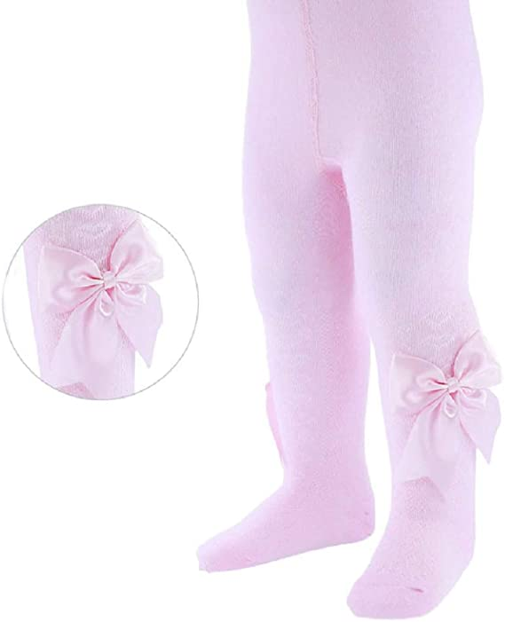 Girls Pink Bow Tights Spanish Tights  Ahe 3-4 Years