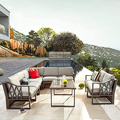 Festival Depot 9pcs Outdoor Furniture Patio Conversation Set Sectional Corner Sofa Chairs All Weather Brown Rattan Wicker Slatted Coffee Table with Grey Thick Seat Back Cushions, Black
