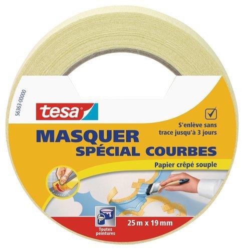 tesa 56363-00000-00ausblenden Rolle Klebeband auf für Linien Kurven, beige, 25 m x 19 mm