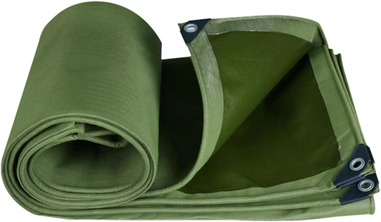 ZEMIN Tarpaulin Waterproof Sunscreen Tent Shade Buttonhole Maintenance Transparent Resistant Canvas, Green, 650G M2, Multiple Sizes