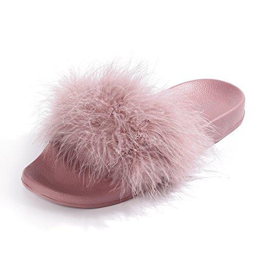 FITORY Damen Hausschuhe Plüsch Süße Pantoffeln Weiche Flache Sandalen Indoor/Outdoor, Pink Rosa, 37/38 EU